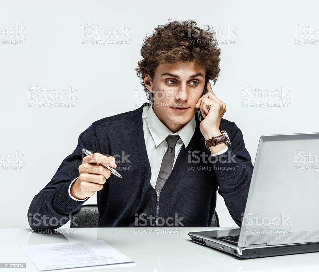 Successful businessman call phone stock photo