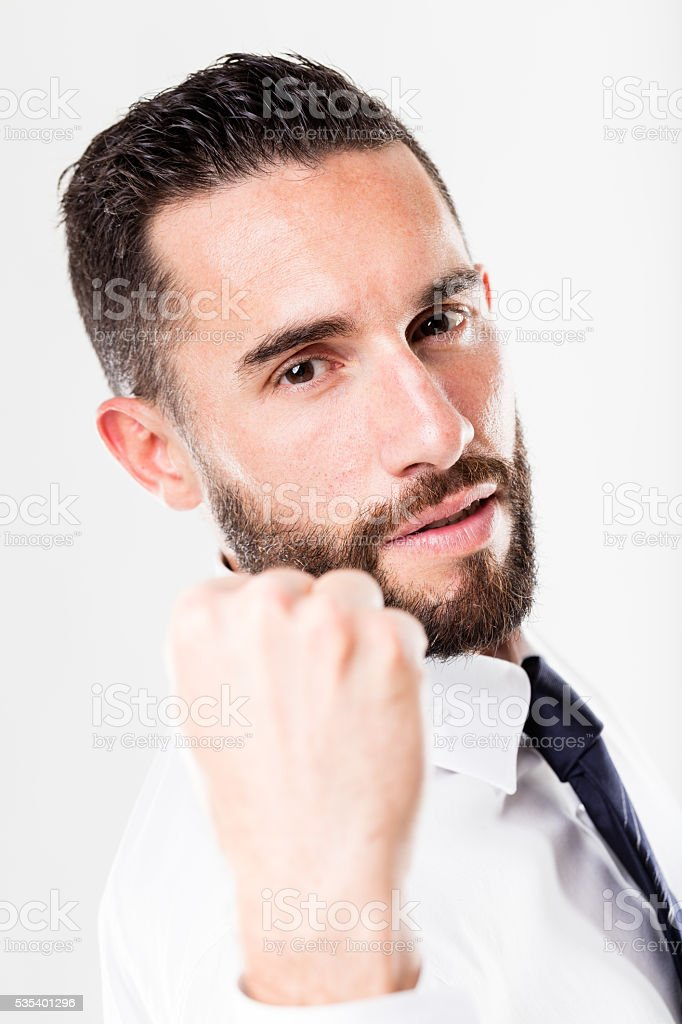 successful businessman on a white background with beard stock photo