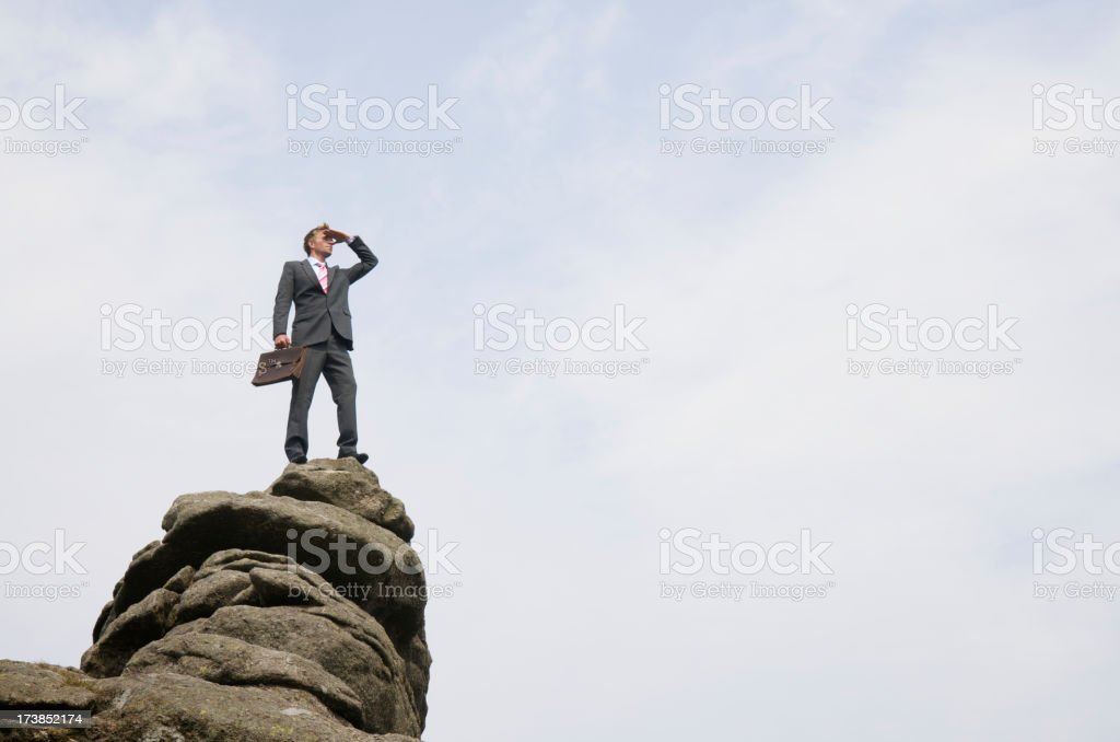 Successful Businessman Standing on Mountain Peak Looking Out stock photo