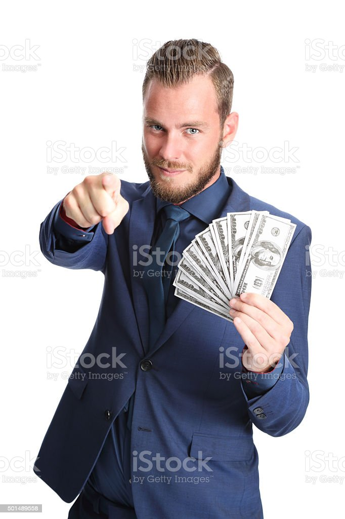 Successful businessman with cash stock photo