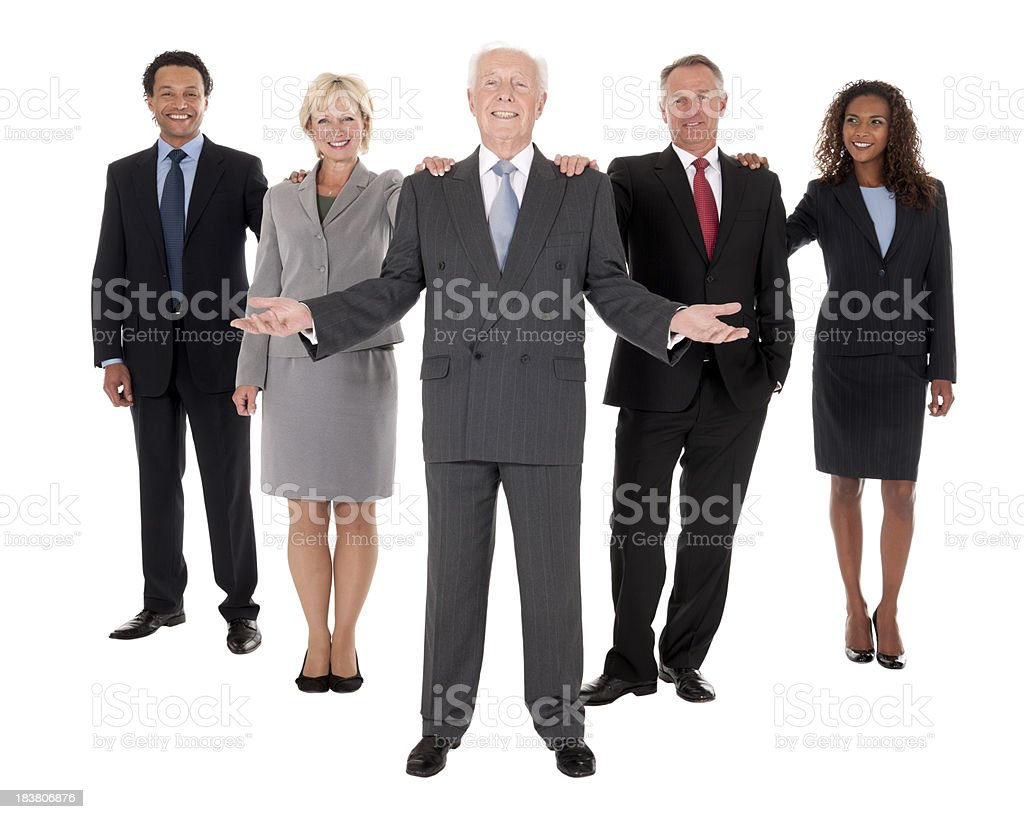 Successful Businessman with his Business Team royalty-free stock photo