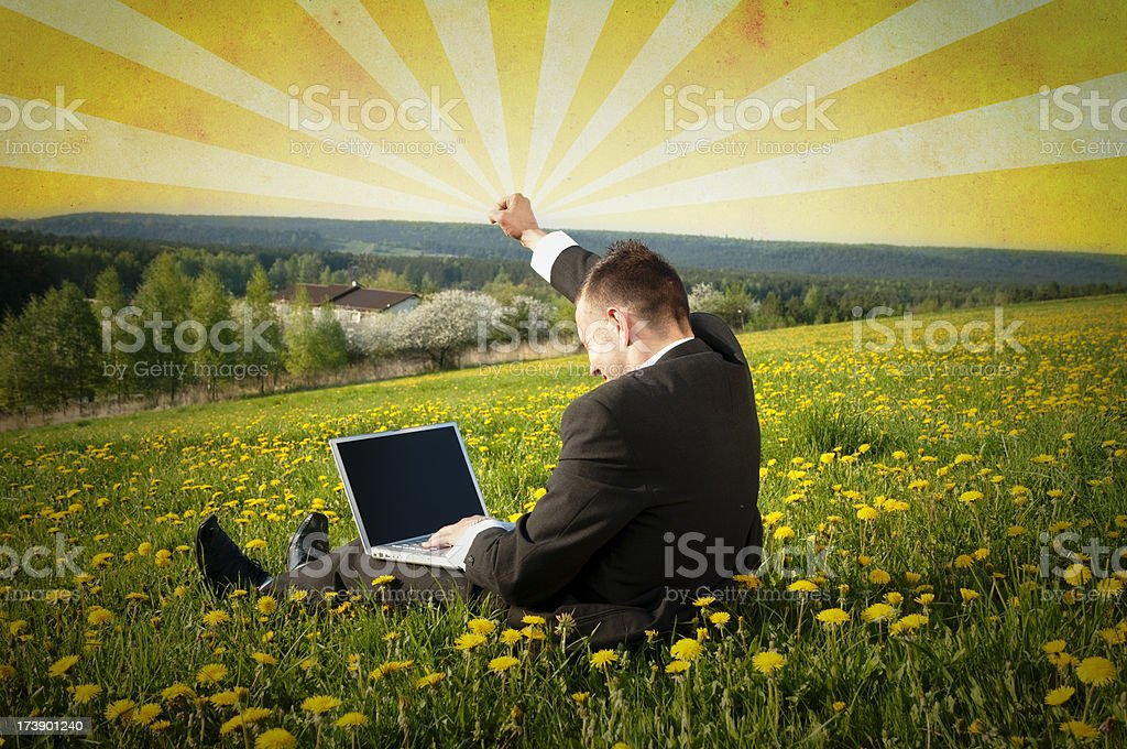 Successful Businessman with Laptop royalty-free stock photo