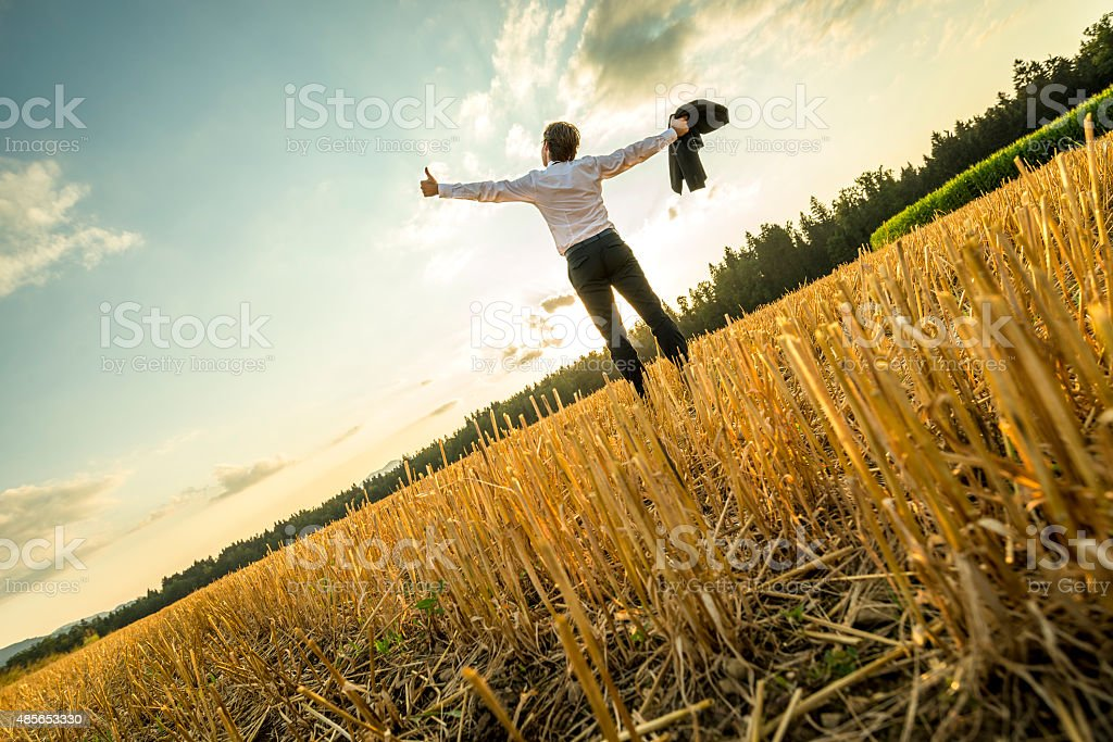 Successful Businessman with Open Arms at the Field stock photo