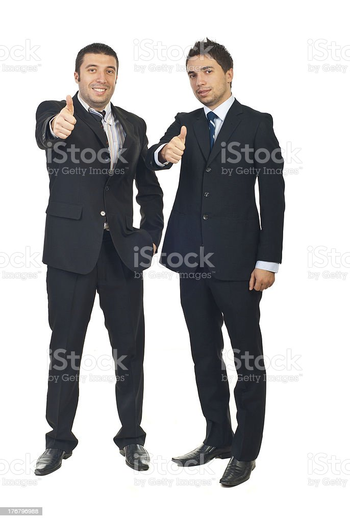 Successful businessmen team give thumbs royalty-free stock photo