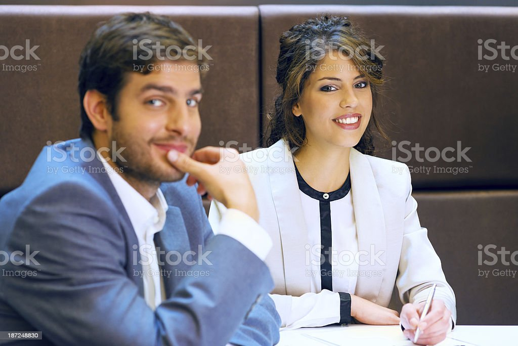 Successful businesspeople on a meeting royalty-free stock photo