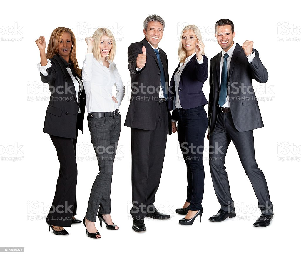 Successful businesspeople showing thumbs up royalty-free stock photo