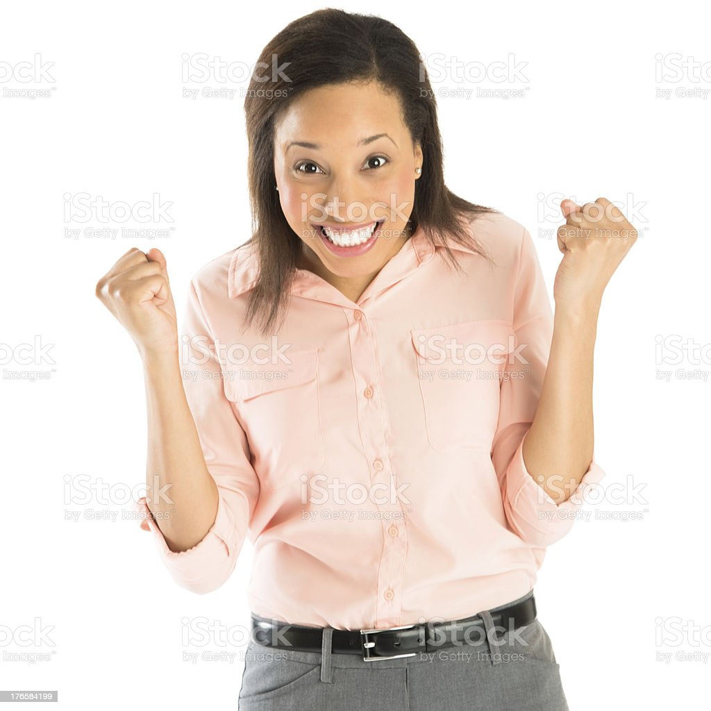 Successful Businesswoman With Clenching Fist royalty-free stock photo