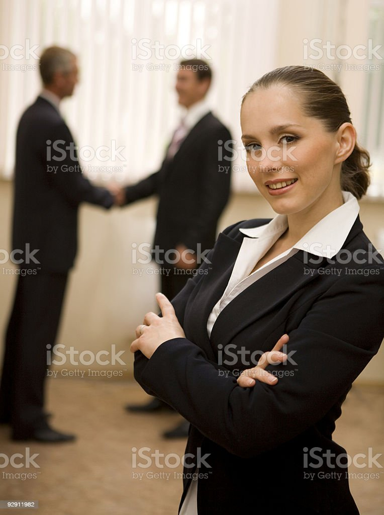 Successful businesswoman with her teamwork. royalty-free stock photo