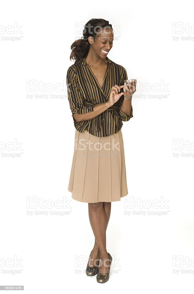 Successful businesswoman with smart phone isolated on white royalty-free stock photo
