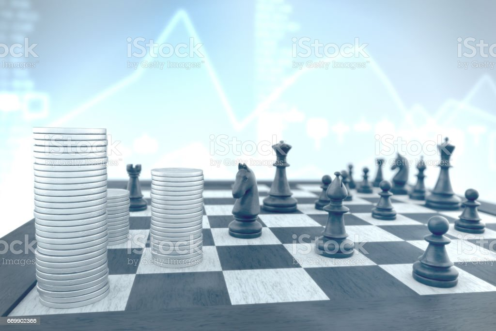 Successful chess tactics to achieve business target on a blue infographic background stock photo