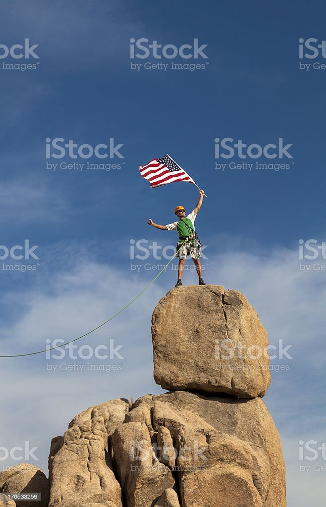 Successful climber at the top. royalty-free stock photo