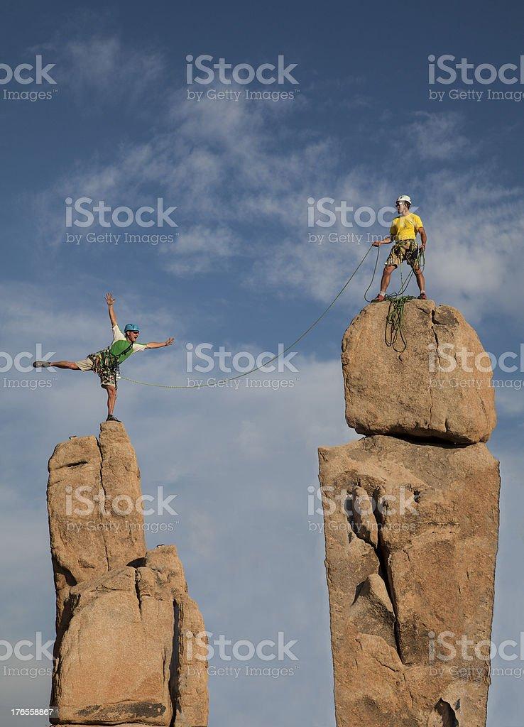 Successful climbing team. royalty-free stock photo