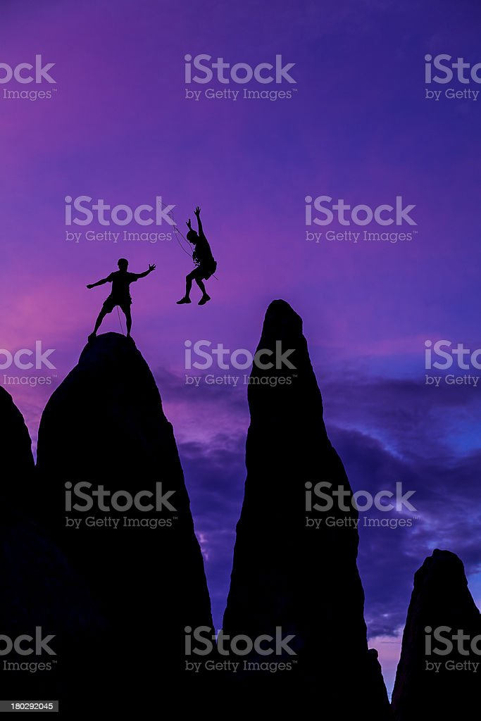 Successful climbing team. royalty-free stock photo