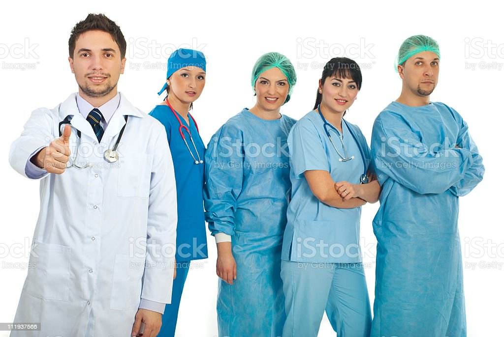 Successful doctor and his team royalty-free stock photo