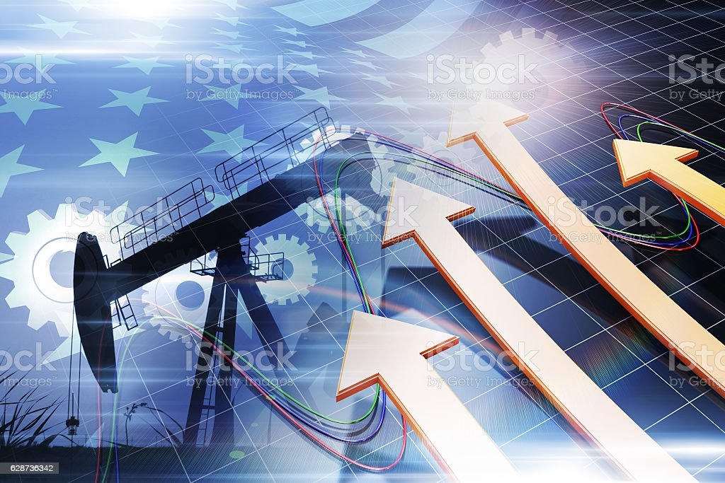 Successful economic arrows and oil industry, American flag and gear stock photo