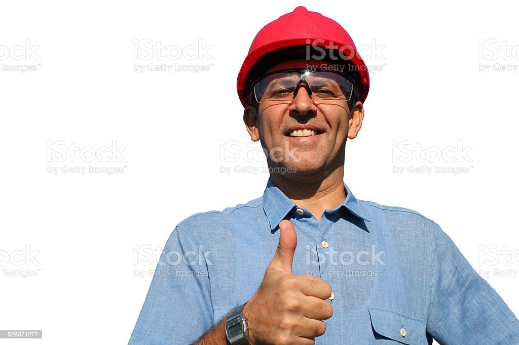 Successful Engineer Showing Ok Sign stock photo