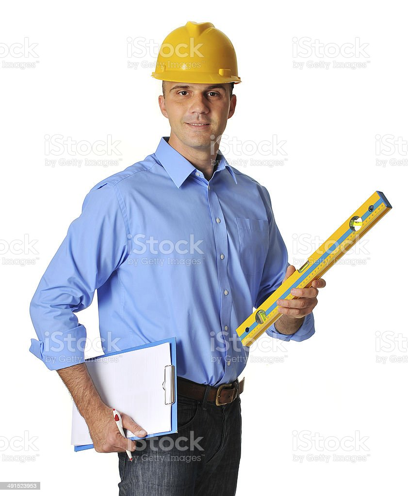 Successful engineer with helmet and meter on isolated white background stock photo