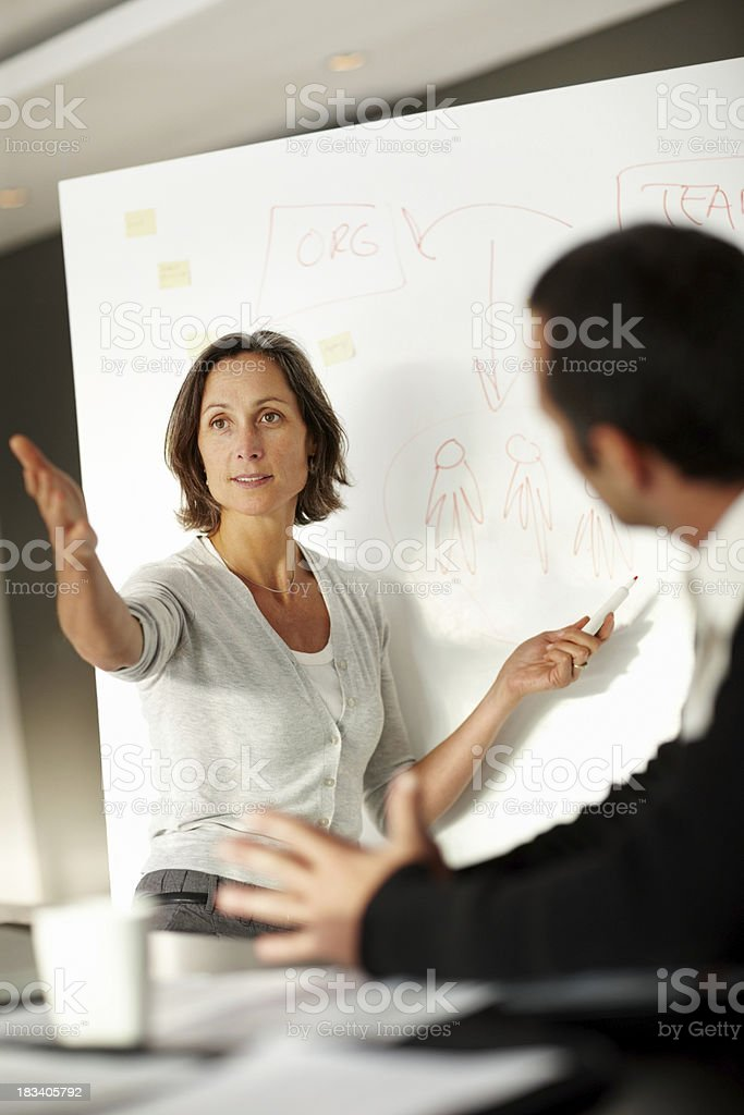 Successful female explaining her idea to colleagues royalty-free stock photo