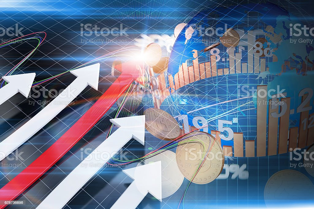 Successful financial arrows and global finance, gold coins stock photo