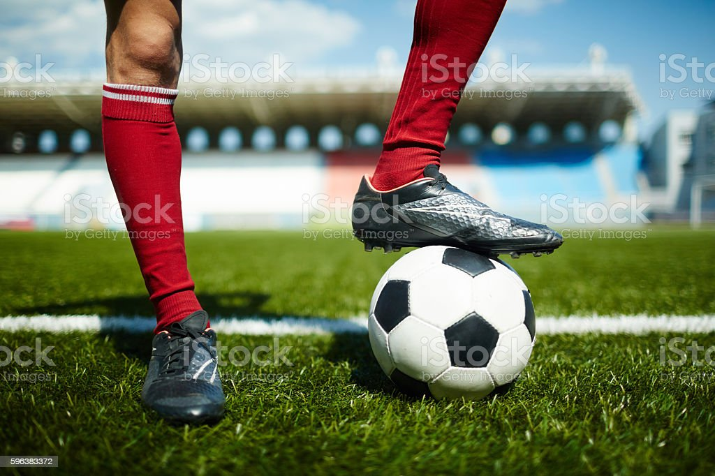 Successful footballer stock photo