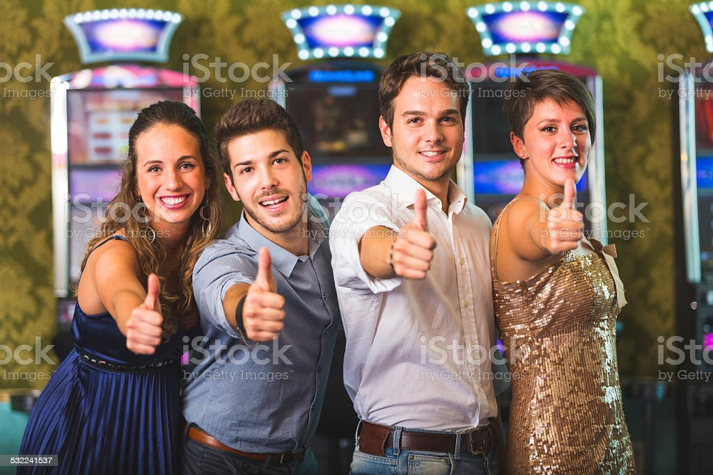 Successful Friends at Casino stock photo