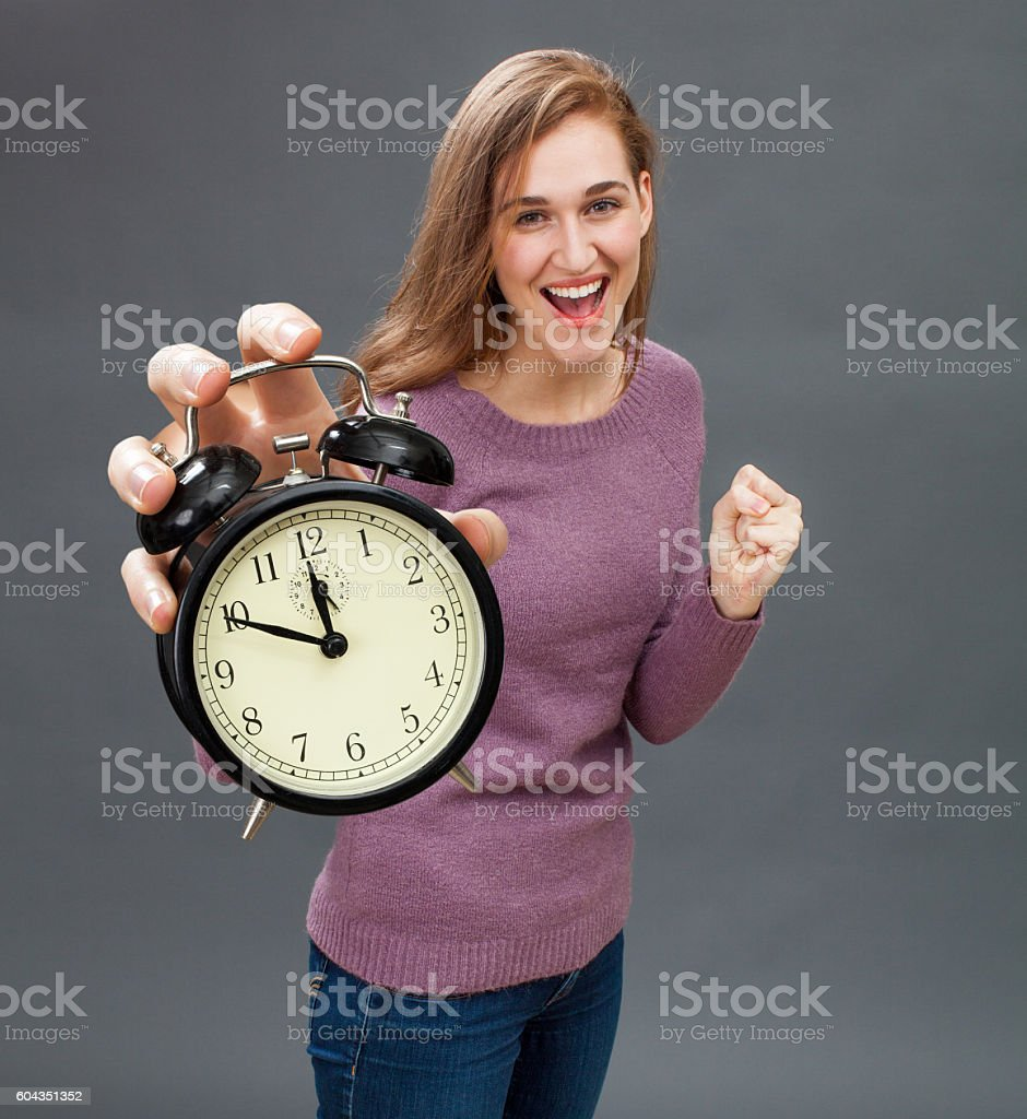 successful girl for emphasis on energy in time management stock photo