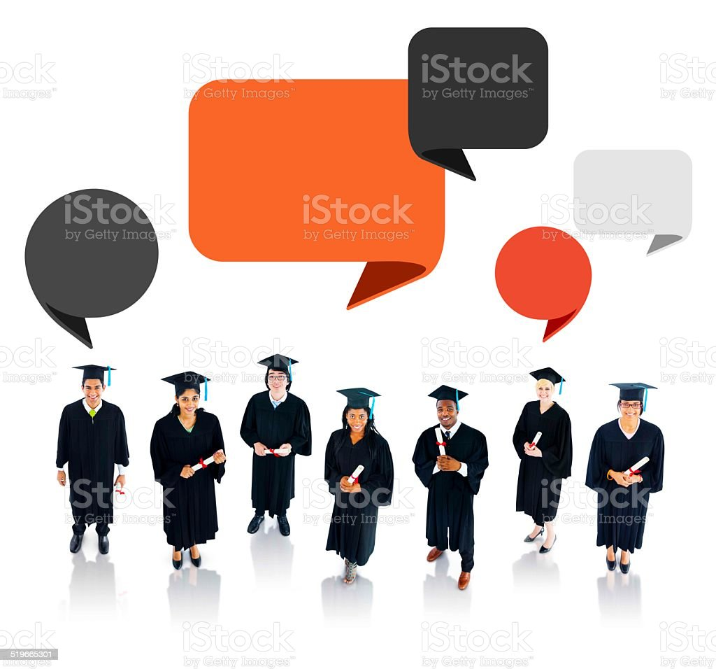 Successful Graduation Student with Speech Bubble stock photo