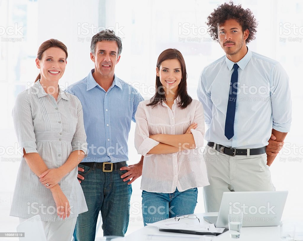 Successful group of business people looking away stock photo