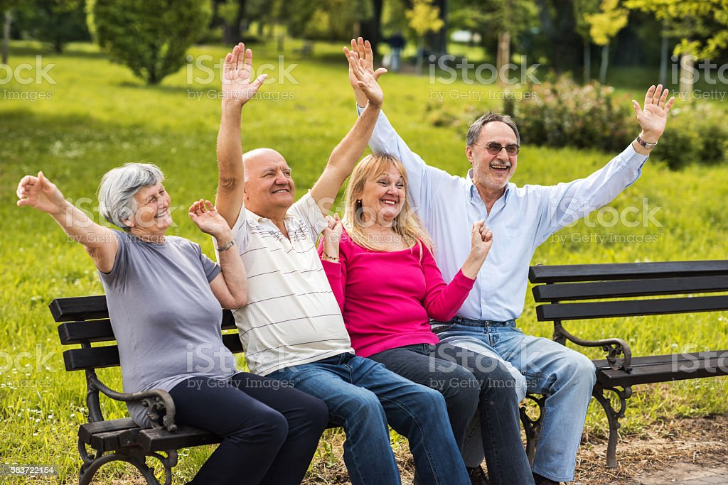 Successful group of seniors on a bench in the park. stock photo