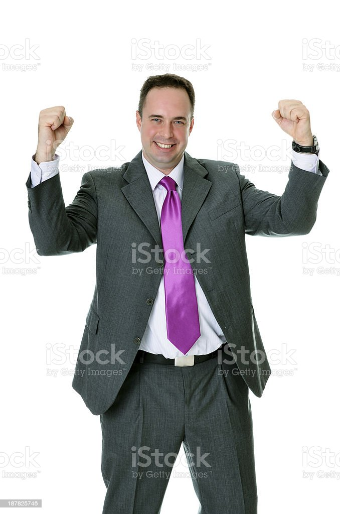 Successful handsome caucasian blue eyed businessman showing exultation royalty-free stock photo