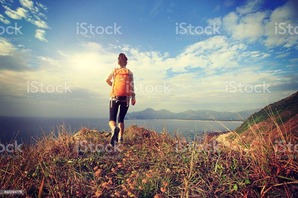 successful hiker on seaside mountain peak stock photo
