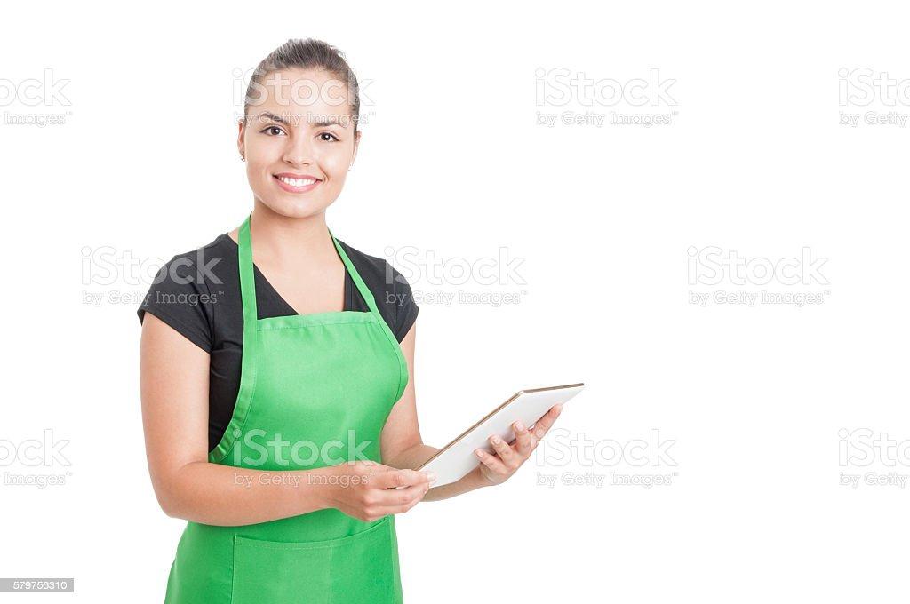 Successful hypermarket employee holding modern tablet stock photo