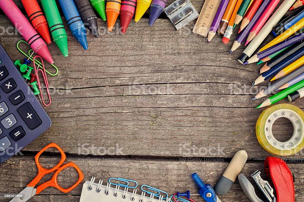 Successful learning with school supplies stock photo