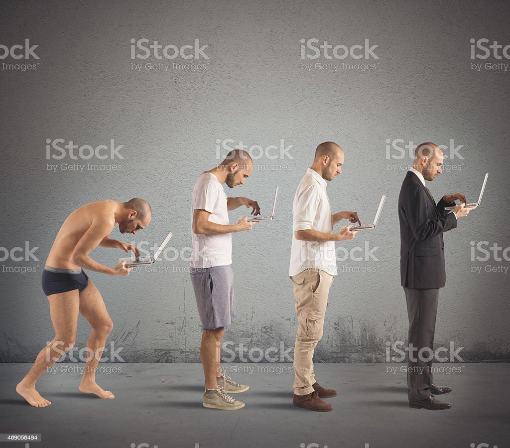 Successful man evolution stock photo