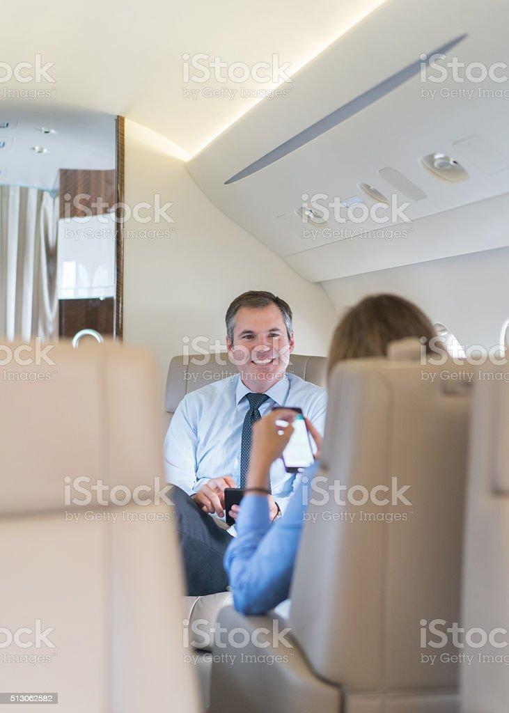 Successful man in a business trip stock photo