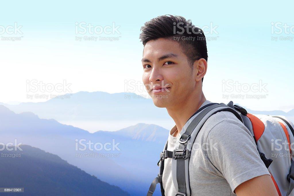 Successful man mountain hiker stock photo