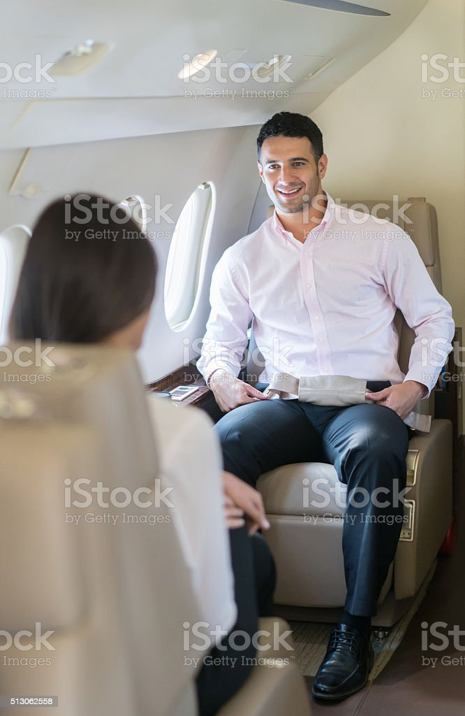 Successful man on a business trip stock photo