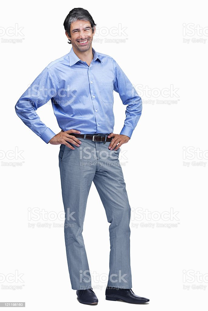 Successful mature business man standing - Isolated over white background royalty-free stock photo