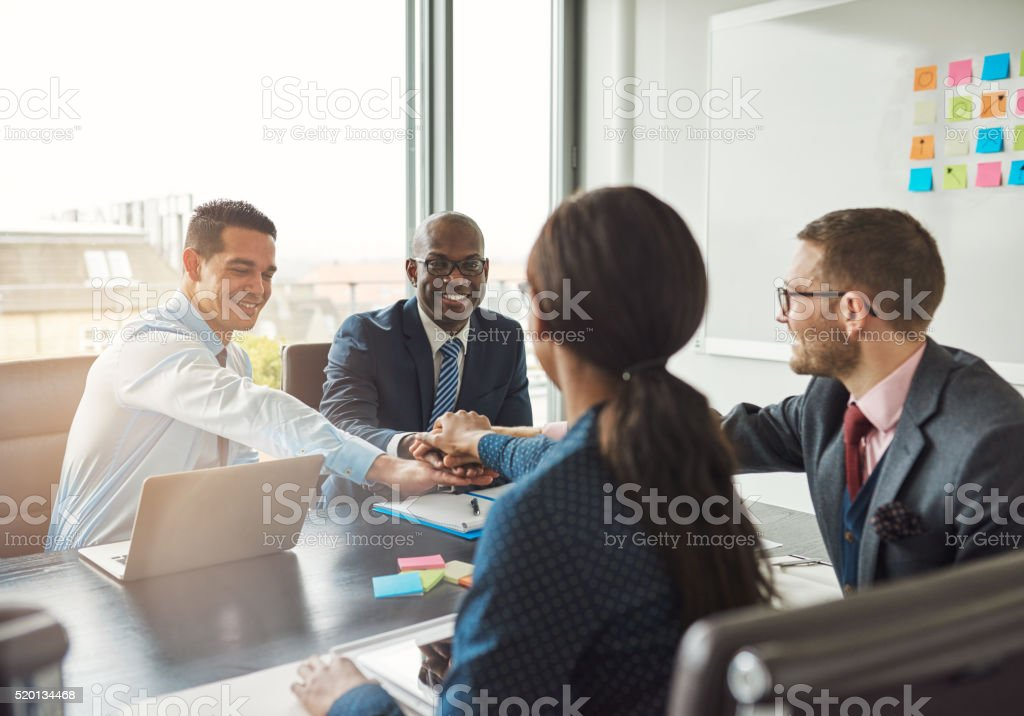 Successful multiracial business team stock photo