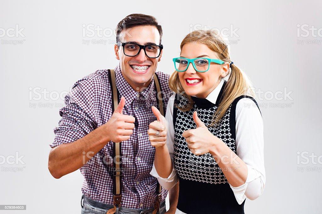 Successful nerds stock photo