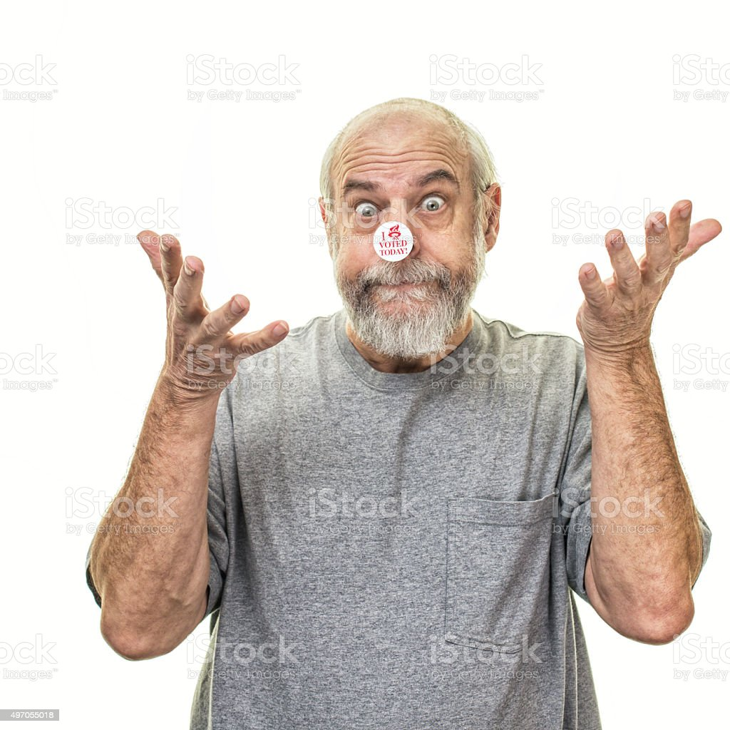 Successful Senior Man Voter Outstretched Open Hands Facing Up stock photo