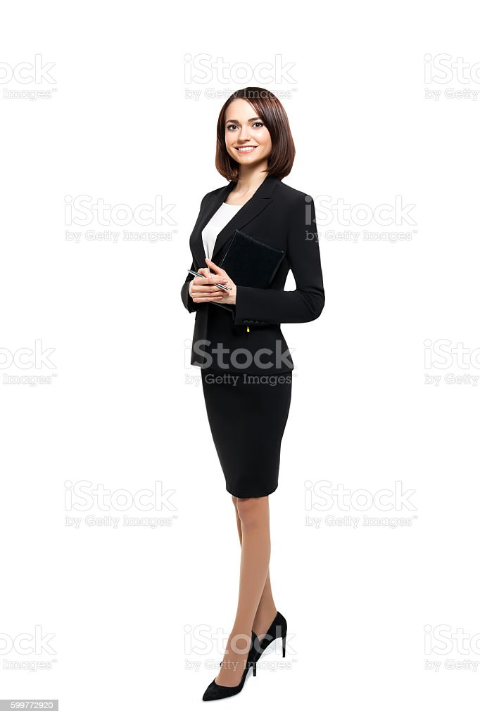 Successful smiling business woman isolated over white stock photo