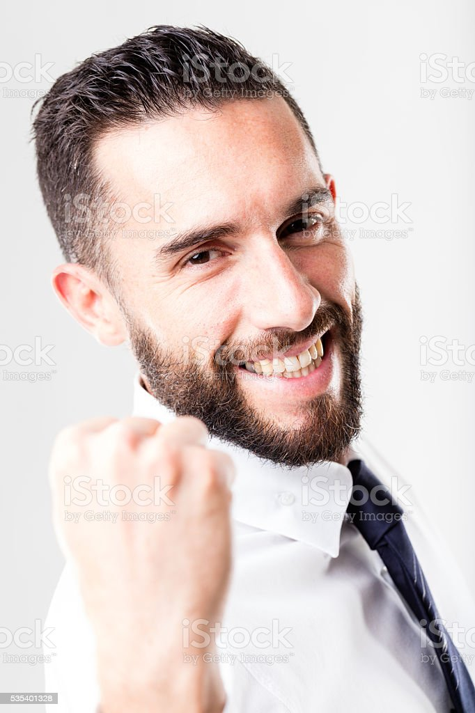 successful smiling businessman with beard stock photo