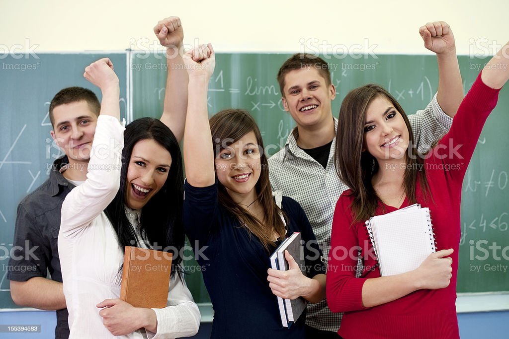 Successful smiling students royalty-free stock photo
