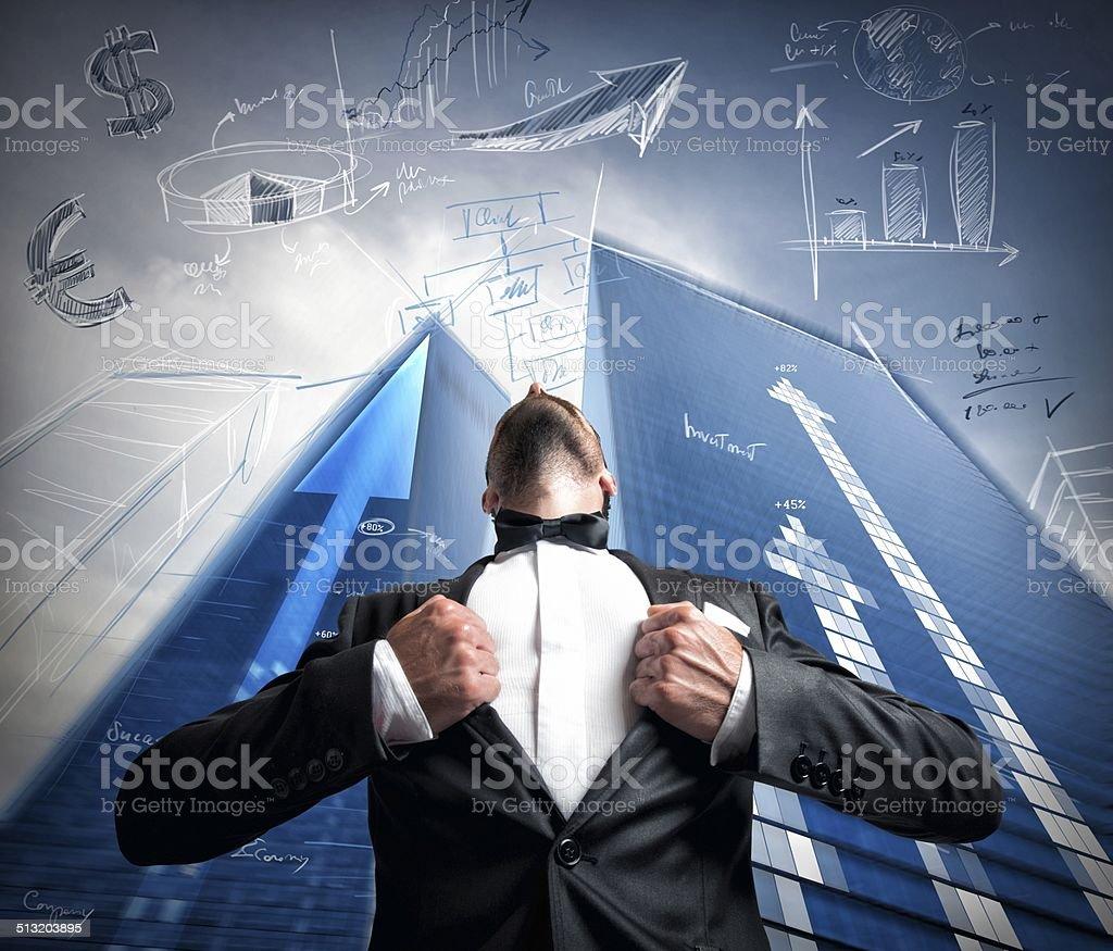 Successful super hero businessman stock photo