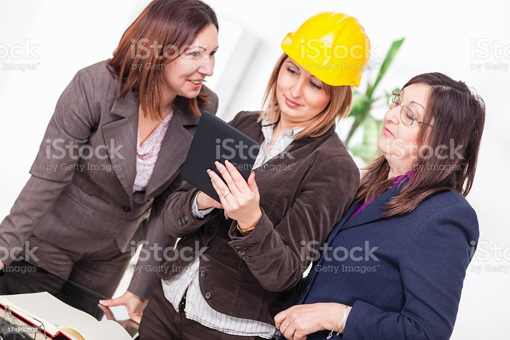 Successful team of woman architects royalty-free stock photo