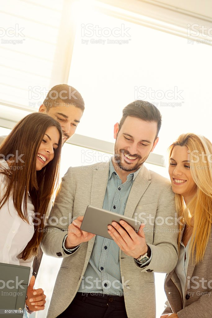 Successful team of young  business people stock photo