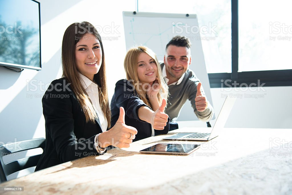successful team togetherness on the city stock photo
