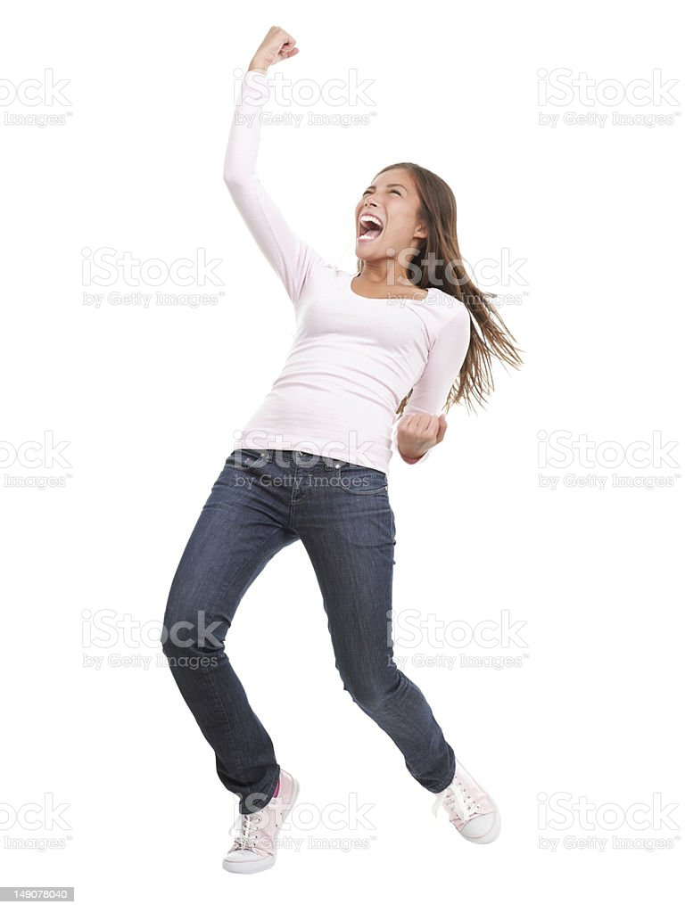 Successful woman celebrating victory stock photo