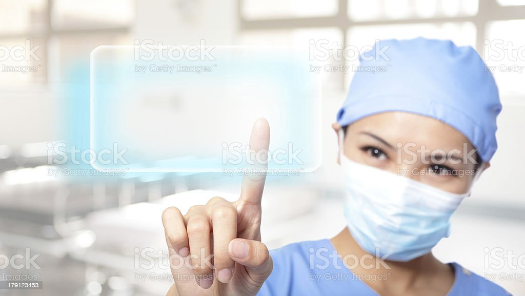 successful woman doctor press empty button stock photo